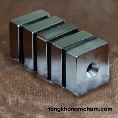 Nam châm đất hiếm hình khối 46x46x16 lỗ 10mm