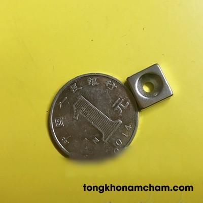 Nam châm viên đất hiếm 10x10x4 lỗ 4mm