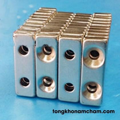 Nam châm viên khối 30x10x5 2 lỗ 5mm